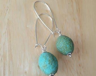 Turquoise dangle earrings, long silver beaded earrings, czech picasso beads, bead drop earrings, blue earrings, boho jewelry