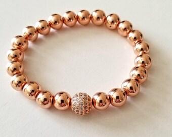 rose gold bracelet, beaded bracelet for women, boho jewelry, mothers day gift mom gifts from daughter, birthday gift for, stacking bracelet