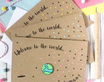 Welcome to the World. Tiny New Human. Personalised New Baby Card. Handmade New Baby Card. New Baby Card. Pink. Blue. Green. Yellow. Greenery