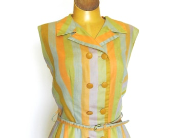 Striped Sixties Dress / Orange Green / Sleeveless  / Button Front  / Shirt Dress / Belted / Dolly Myers / Notched Collar / Summer / 36 Bust
