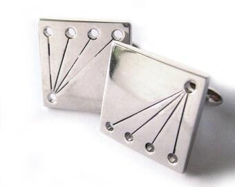 Vintage Silver Unisex Cuff Links / Square Modernist Cufflinks / Shiny Silver Cuff Links / Groom / Best Man / Groomsman / Swank Cufflinks