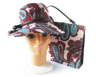 MOD Vintage Paisley Print Hat and Handbag Set / Deborah Exclusive / Floppy Hat / Pink Velour Hat / Wide Brim Hat & Kelly Bag / Twiggy Style