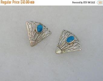 ON SALE Lovely Sterling Silver Turquoise Fan Style Earrings