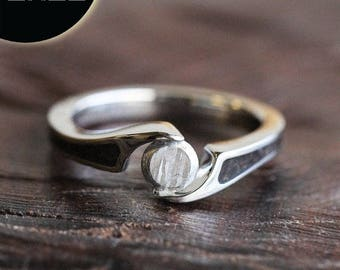 SALE - Faceted Meteorite Engagement Ring, Dinosaur Bone Tension Set Ring, Unique Galaxy Ring