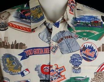 Reyn Spooner New York Mets baseball world champs shirt Shea Stadium Size XL chest 52 Made in USA