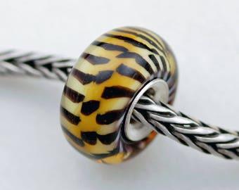 Small Classic Remake Siberian Tiger - Artisan Glass Charm Bracelet Beads - (AUG-46)