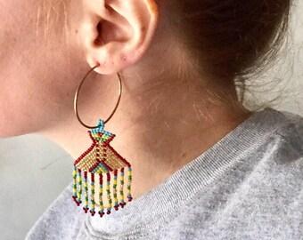 Native American Beaded Hoop Earrings. Mothership Connection