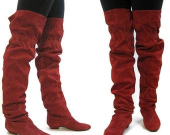 REDUCED Vintage 80s Boots OTK Thigh High Red Suede Slouchy Pirate Ingledews 8