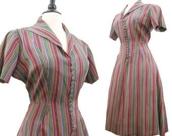 REDUCED Vintage 40s 50s Dress Striped Taffeta Shirt Waist Day Dress L