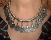 Silver necklace, statement necklace, boho necklace, coin necklace, hippie necklace, ethnic jewelry, silver statement jewelry, coin jewelry