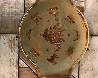 Mid Century Modern Bird Serving Tray Platter Gold