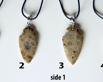 arrowhead Michigan Petoskey stone pendant necklace jewelry hand carved unisex fossil stone simple classic gift
