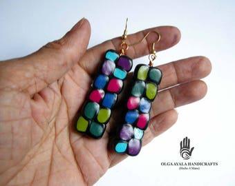Multi Color Dots Rectangular Earrings