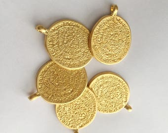 1pc- Matte Gold Plated Cuneiform Charm-40x30mm-(001-043)
