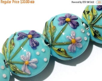 ON SALE 35% OFF Four Kiley's Bouquet Lentil Beads 11605812 - Handmade Grace Lampwork Beads