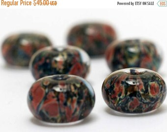 ON SALE 30% off Handmade Glass Lampwork Bead Set - Six Multi-color w/Blue & Orange Rondelle Beads 11006621