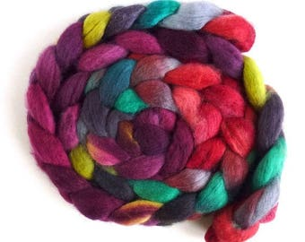 BFL Wool Roving - Hand Painted Spinning or Felting Fiber, Country Bouquet