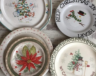 Christmas Theme Box Lot - Broken China Plates Pieces Supplies Holiday Theme