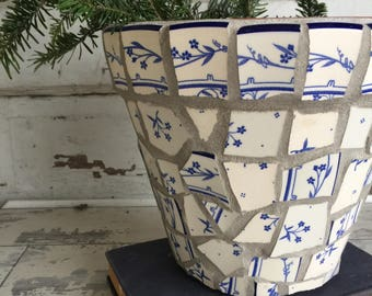 Broken China Mosaic Flower Pot - 8 Inch Blue and White