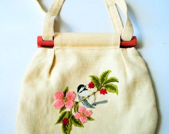 Boho vintage 70s light burlap , hand made bag with the embroidery and convertible handles.
