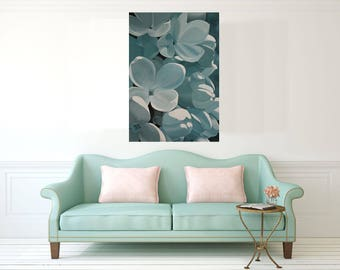 Flower Painting Original- White Lilac Blue Flower Painting Turquoise Decoration Floral Wall Art on Canvas