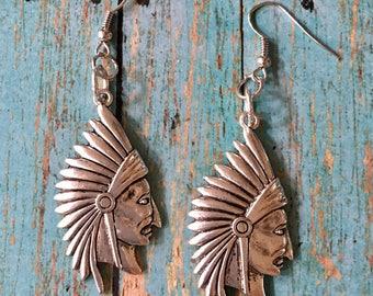 Indian Chief Head Earrings Silver Pewter Dangle Boho Pierced