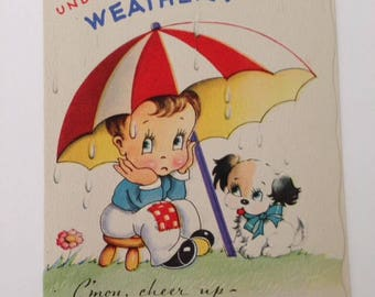 Vintage Get Well Greeting Card 1940s NOS never used