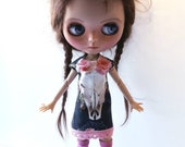 """Handmade  Romantic    Shabby Chique Tricot Dress """"Scull"""" for Blythe 1/6"""