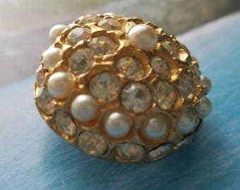 Vintage Button -1 beautiful antique gold metal domed Rays design rhinestone and seed pearls,1950's (lot June 222 17)