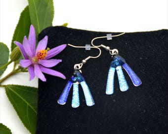 171 Dichroic fused glass earrings, three colors, purple, silver, blue
