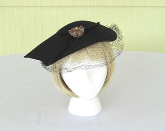 1950's vintage black brimless wool felt hat with veil and decoration