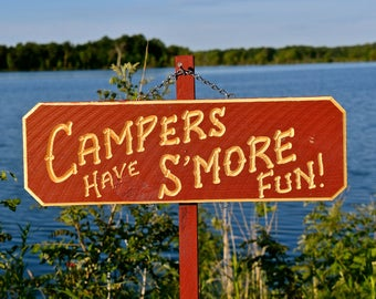 CAMPING  S'mores  CAMPER Portable  Personalized Wood Carved Sign (38 dollars)  Optional(Add-on names are 6 dollars each): Hang on a post