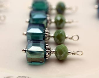 Peacock Green AB Square Cube Crystal and Green Rondelle Earring Dangle, Pendant, Earrings, Jewelry Making