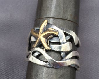 brass starfish and silver kelp mixed metal oak seaweed ring size 6 3/4 ready to ship