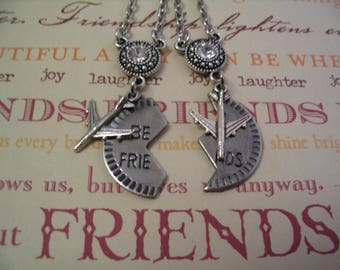 2 Best Friends Long Distance Necklace Set for Mother Daughter Sister or Friends Gift