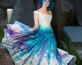 "Galaxy Wedding Dress Off Shoulder Dress Starry Night Fairy Wedding Dress Painted Dress Unique Wedding Dress ""Space Princess Gown"""