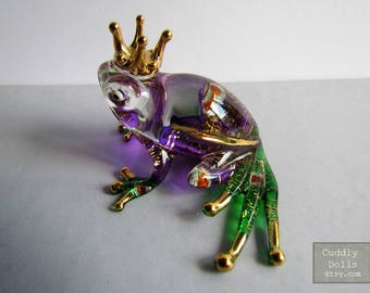 Purple Prince Frog Hand Blown Glass Animal Figurine Glittering Hand-Painted Glass Animal Figurine Statue Collectible Gifts Frog Figurine