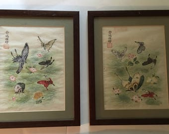 Pair of Framed Butterfly Paintings