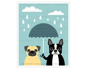 326D Dog Prints - Pug and Boston Terrier with Blue Umbrella Wall Art - Funny Dog Art - Blue and Gray Nursery Art - Pug Drawing - Pug Print