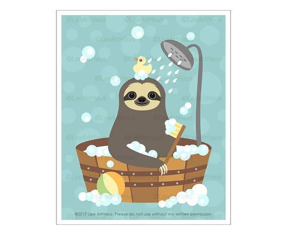 5J - Bathroom Wall Decor - Sloth Taking Bubble Bath in Wooden Tub Wall Art - Funny Bath Art - Sloth Home Decor - Bathroom Art Prints
