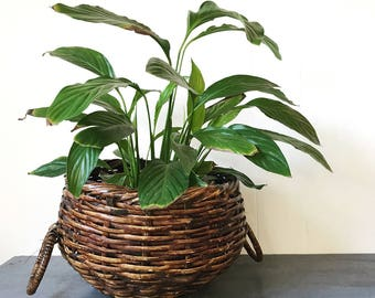 large woven bamboo basket with handles - round dark brown plant basket - boho home storage