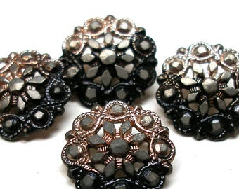 """4 Antique BUTTONS, Victorian faux steel made in Paris, France in pink & black. 5/8""""."""