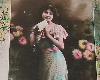 1900s French Postcard, Edwardian Lady with letter, RPPC real photo postcard, paper ephemera.