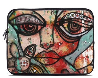 Psychedelic computer sleeve tablet sleeve  abstract sleeve faces flower art laptop artist sleeve back to school gift computer bag case