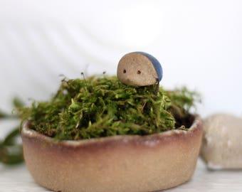 Miniature Animal Hedgehog - Stoneware ceramic figure in Cobalt