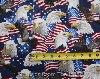 USA American Flags Bald Eagles Patriotic on Blue Timeless Treasure Cotton Fabric