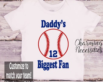 Baby Boy Shirt, Daddy's Biggest Fan, Custom Personalized, Baseball Son Shirt, Fan, Toddler Boy Clothes Onesie Outfit Charming Necessities