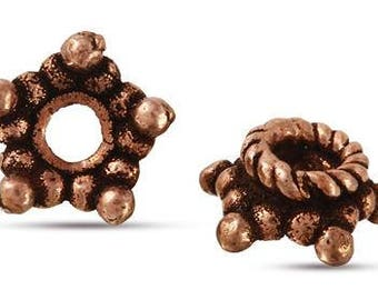 Copper Bead Caps Five Point Star Shape 6.5mm. Approximately 2 mm Hole Size. Price Per 10 Pieces.