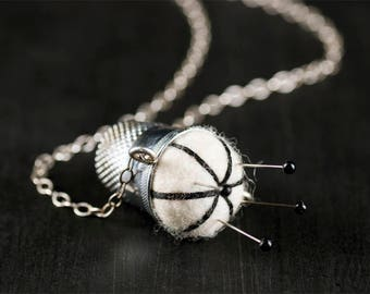 """Handmade Silver Pincushion Necklace Off White & Black Felted Wool 17"""" Vintage Silver Plated Thimble, Sterling Chain, Jewelry Sewing Quilting"""