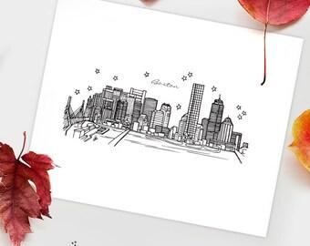Boston, Massachusetts - United States - Instant Download Printable Art - City Skyline Series